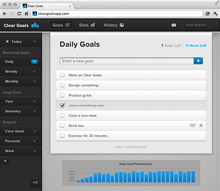 Screenshot of Daily Recurring Goals