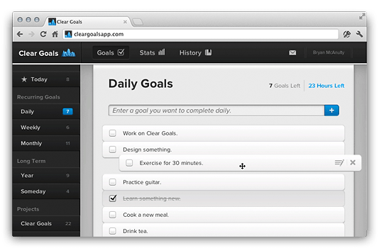Clear Goals Todo List View