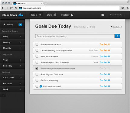 Screenshot of Completed Goals Page